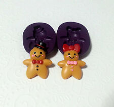 Silicone Molds Gingerbread Boy Girl Set (32mm) Fondant Chocolate Cookie Clay PMC