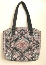 Derin Tapestry Handbag, Black with Red and Cream Floral Design
