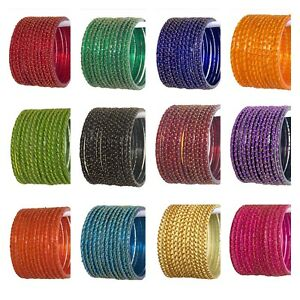 Indian multi-color Designed Glass Bangles Jewelry set (12 pc) for women