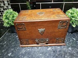 Antique Edwardian Oak Stationary Box , with Rd numbers