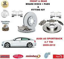 Para Audi A5 Sportback 2.7 TDI 2009-12 frontal + Kit de Montaje Pastillas De Discos De Freno Trasero