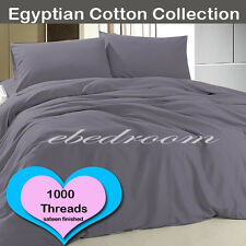 1000 thread count Egypt Cotton Single Size Fitted Sheets Sheet Sets Pewter Color