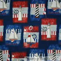 BonEful Fabric FQ Cotton Quilt Blue Red Sail Boat Lighthouse Patchwork Flag USA