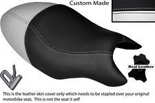 BLACK & WHITE CUSTOM FITS CAGIVA RAPTOR PLANET 125 DUAL LEATHER SEAT COVER