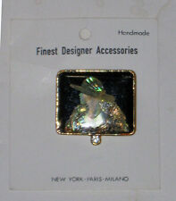 Art Deco Enamel and MOTHER OF PEARL ( Lady w/ HAT ) rectangular Brooch - NEW