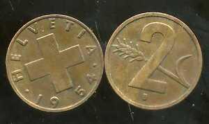 SWITZERLAND SUISSE 2 rappen 1954  ( it )