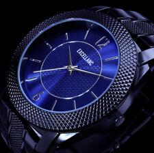 Excellanc Herren Armband Uhr Schwarz Blau Metall