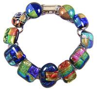 "DICHROIC Link Bracelet Blue Orange Green Gold Rainbow Patterned Fused Glass 1/2"""