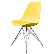 Fusion Living Eiffel Inspired Yellow Plastic Dining Chair- Various Leg Bases