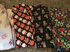 LuLaRoe GIRLS LEGGINGS SIZE LG L/XL lot of 4 back to school leggings Apples Fall