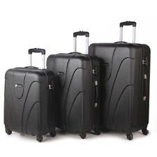Lightweight 4 & 2 Wheel Spinner Set of 4 Trolley Suitcase Luggage Case Bag Black
