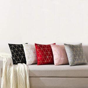 """Pair of Geometric Velvet Cushion Cover Gold Line Art Throw 18"""" Pillow Case"""