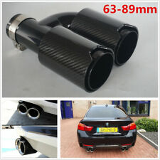 1X 63-89mm Glossy Carbon Fiber Car Exhaust Dual End Tips Pipe Right Side For BMW