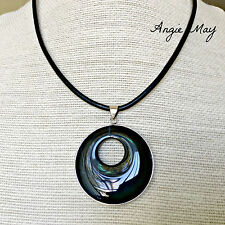 Black Onyx Go-go Donut Pendant on Black Leather Cord Necklace