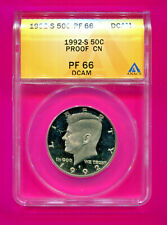1992 S KENNEDY HALF PROOF PF 66 DEEP CAM ANACS AUTHENTICATED