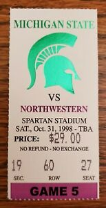 Michigan St. Northwestern Football Ticket Stub 10/31 1998 Paul Edinger FG Record