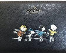 COACH x PEANUTS Snoopy Skating BLACK Leather Zip Long Wallet NEW Japan