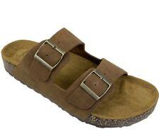 George Men's Brown Comfort Double Buckle Strap Slip-on Sandals Shoes: 9-13