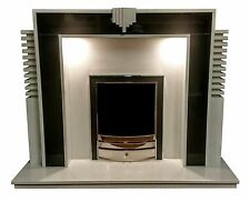 Reproduction Art Deco Fireplace With Lights White Marble & Black Granite Inlay