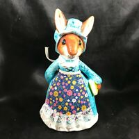 Vintage Ceramic Squirrel Country Blue Dress Coin Bank