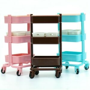 Blind Box Dollhouse Miniature Rolling Tier Storage Service Cart 1 Random Toy