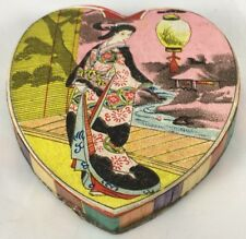 Antique Asian Japanese Chinese Geisha Lady Heart Shaped Candy Container Box