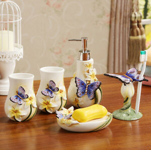 5pcs Butterfly Decor Ceramics Bathroom Set Accessory Soap Dish Toothbrush Cup