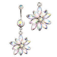 Beautiful Flower Belly Bar Aurora Borealis Crystal Vintage Dangle AB Piercing