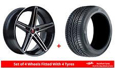 Alloy Wheels & Tyres 8.5x19 Axe EX14 Black Polished Face + 2454019 Economy Tyres