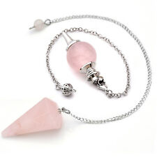 2pcs Rose Quartz Crystal Stone Pendulum Healing Dowsing Reiki Chakra Pendant Set
