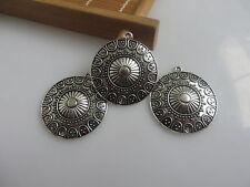 5pcs Antique Silver Round Charm Pendants Earring Necklace Connectors For DIY