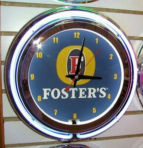 Fosters Foster's Beer Logo  2 Ring Neon Clock