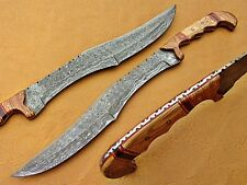 Beautiful handmade Damascus steel hunting sword knife with wooden handle