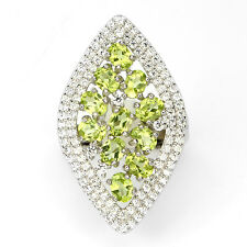 NATURAL GREEN PERIDOT & W.CZ ACCENT 14k W.GOLD ON STERLING 925 SILVER RING SZ.6