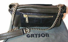 Gryson Beca Olive Brown Crossbody Bag w/Gold Chain Strap ITALY MSRP: $795