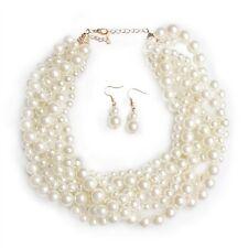 Simulated Pearl white Necklace Set- Collar para fiesta imitacion perlas blancas