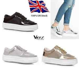 Womens-Ladies Girls Shoes Flats Lace Up Trainers * UK SIZES 3-8