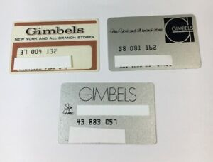 3 Vintage Expired Credit Cards For Collectors - Retail Lot Gimbels (7035)