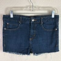 Obey Women's 32 Modified Dark Wash Tight Stretchy Cheeky High Waist Jean Shorts