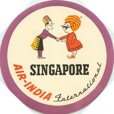 AIR INDIA to SINGAPORE - Scarce Old Destination Luggage Label, c. 1950's