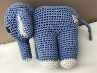 Anne Claire Petit Crochet Blue Elephant Comforter Soft Cuddly Toy Baby Soother