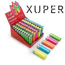 50 Pack Xuper Color Jet Flame Lighters Windproof Adjustable & Butane Refillable