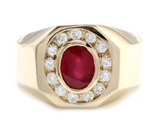 2.20 Carat Natural Red Ruby and Diamonds 14K Solid Yellow Gold Men's Ring