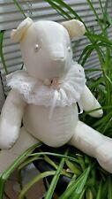 "Vintage Teddy Bear Cream White Taffeta Lace Ruff Roses Pearl 18"" Handmade 1980's"