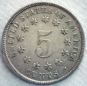 1883 Shield Five Cents Coin 5c US Nickel Extra Fine Circulated Philadelphia Mint