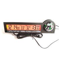 Car 12V Voltage Meter Digital Campass Clock Thermometer Kits LED Backlight Black