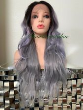 silver gray wig Wavy Layered Ombré Black Heat Ok 26 Inch Long