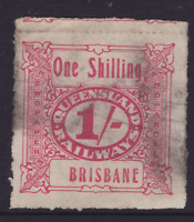 QUEENSLAND EARLY 1/- RED **BRISBANE** REVENUE Railway Stamp USED (KK164)
