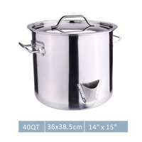 40QT Large Stainless Steel Stock Pot Tamale Steamer Pot w/Lid Induction Cookware