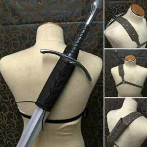 Vintage Cosplay Costume PU Leather Strap Scabbard Shoulder-back Sword Holder Set